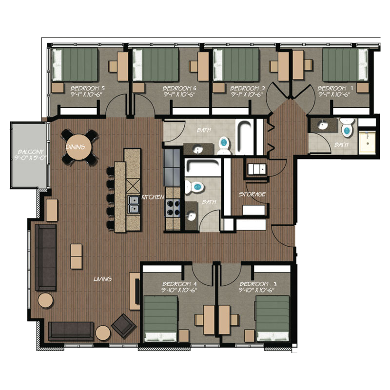 229 apartment floor plans hovde properties for 6 bedroom 6 bathroom house plans